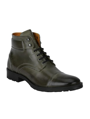 grey Leather high ankle boots - 15616447 - Standard Image - 1