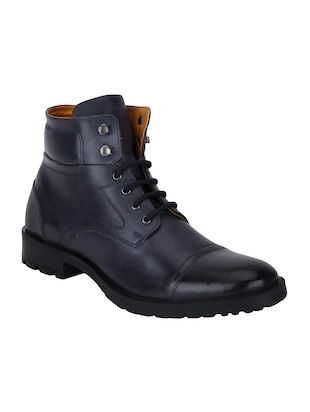 navy Leather high ankle boots - 15616448 - Standard Image - 1