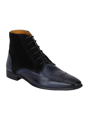 navy Leather low ankle boots - 15616465 - Standard Image - 1