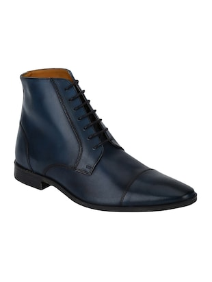 navy Leather high ankle boots - 15616473 - Standard Image - 1