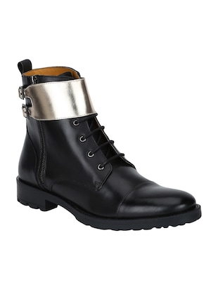 black Leather high ankle boots - 15616498 - Standard Image - 1