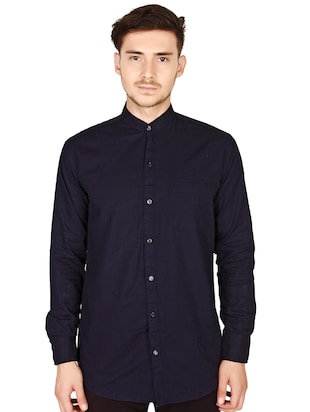 navy blue cotton casual shirt - 15616553 - Standard Image - 1