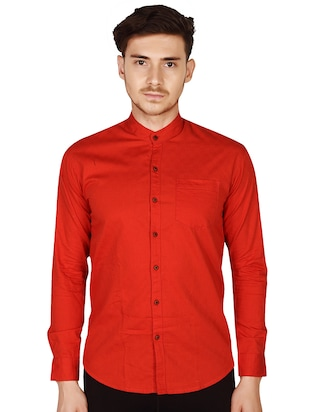 red cotton casual shirt - 15616556 - Standard Image - 1