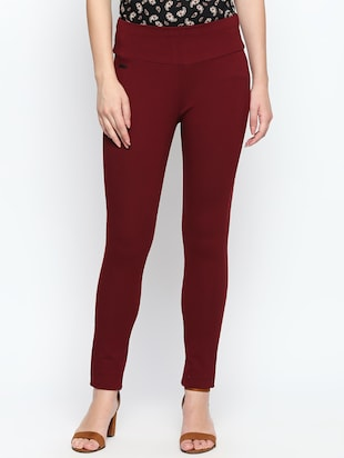 maroon solid high rise jegging - 15616871 - Standard Image - 1