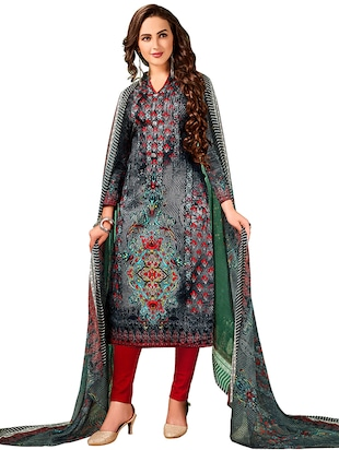 Printed unstitched churidaar suit - 15619538 - Standard Image - 1