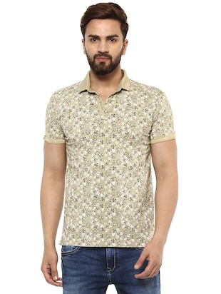 beige cotton all over print t-shirt - 15619668 - Standard Image - 1