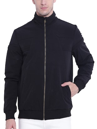 black nylon casual jacket - 15619872 - Standard Image - 1