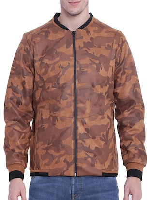 brown nylon casual jacket - 15619879 - Standard Image - 1