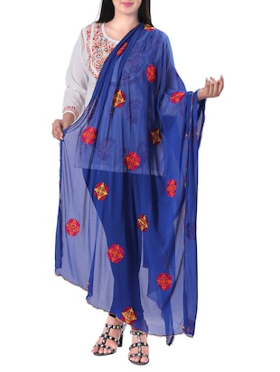 Embroidered dupatta - 15620114 - Standard Image - 1
