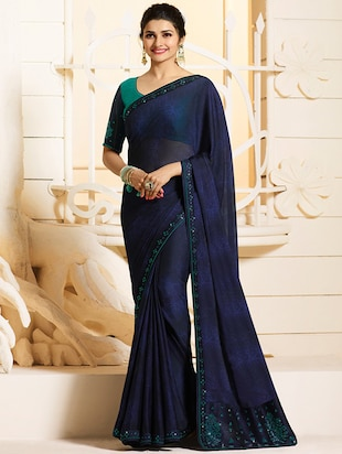 embellished lace border saree with blouse - 15620263 - Standard Image - 1