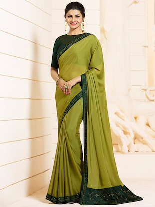 embellished lace border saree with blouse - 15620264 - Standard Image - 1