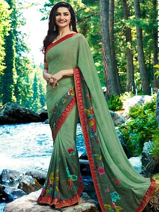 floral printed saree with blouse - 15620279 - Standard Image - 1