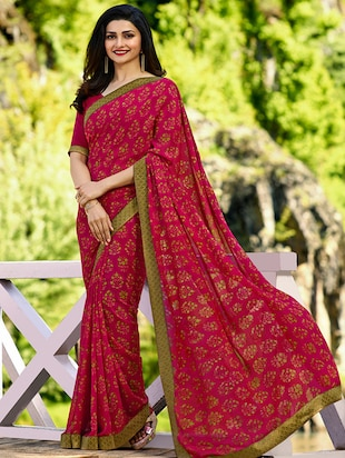 floral printed saree with blouse - 15620280 - Standard Image - 1