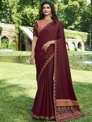 embroidered lace border saree with blouse - 15620296 - Standard Image - 1