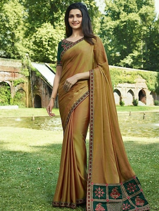 embroidered lace border saree with blouse - 15620297 - Standard Image - 1