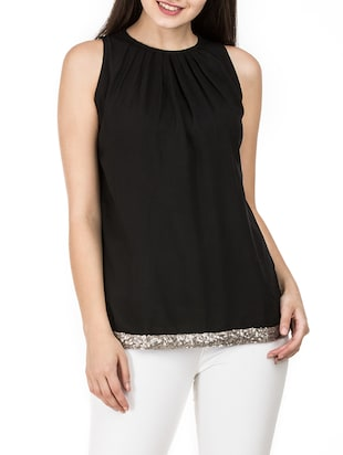 pleat detail neck sequined hem top - 15620633 - Standard Image - 1