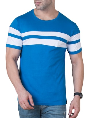 blue cotton cut & sew t-shirt - 15620673 - Standard Image - 1