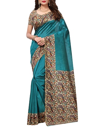 kalamkari printed border saree with blouse - 15620773 - Standard Image - 1