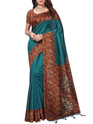 kalamkari printed border saree with blouse - 15620782 - Standard Image - 1