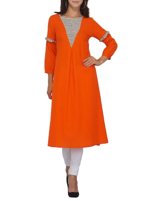 Orange a-line stripes yoke kurta - 15620859 - Standard Image - 1