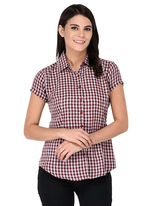 short sleeve shepherd checks shirt - 15621188 - Standard Image - 1