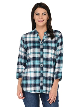 mandarin neck checkered shirt - 15621198 - Standard Image - 1