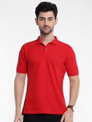 red cotton polo t-shirt - 15621455 - Standard Image - 1