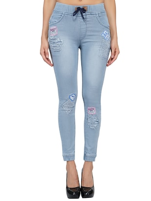 drawstring waist graphic patch distress jeans - 15621485 - Standard Image - 1