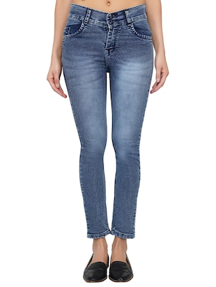 ankle length stone wash jeans - 15621494 - Standard Image - 1
