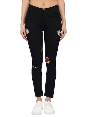 mid rise graphic patch jeans - 15621501 - Standard Image - 1