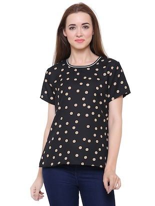 short sleeved polka dots top - 15621614 - Standard Image - 1