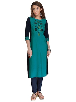 Straight embroidered kurta - 15621820 - Standard Image - 1