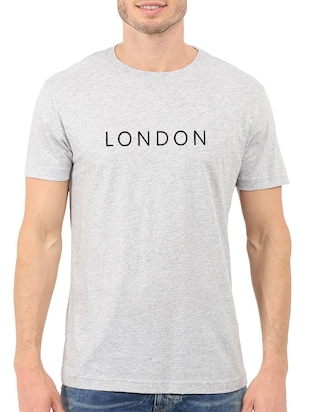grey cotton chest print tshirt - 15621920 - Standard Image - 1