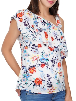 ruffled detail floral top - 15622079 - Standard Image - 1