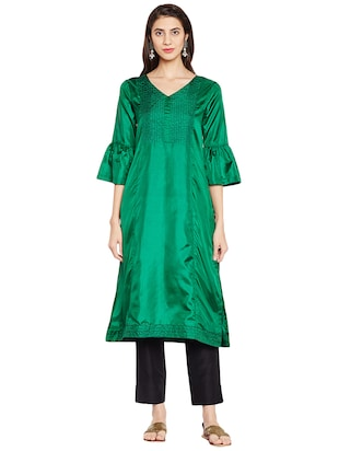 Bell sleeves art silk straight kurta - 15622393 - Standard Image - 1