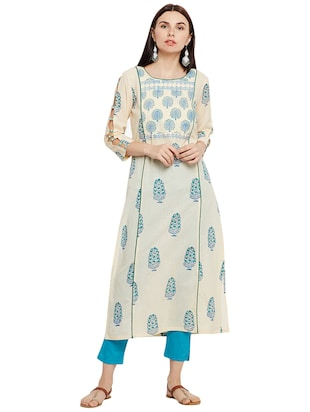 Printed piping straight kurta - 15622413 - Standard Image - 1
