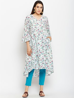 High low bell sleeves kurta with pocket - 15622418 - Standard Image - 1