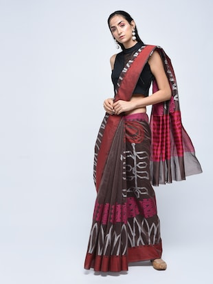 floral motif woven saree with blouse - 15622852 - Standard Image - 1