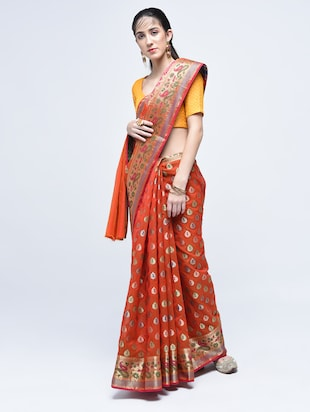 paisley zari border banarasi saree with blouse - 15622876 - Standard Image - 1