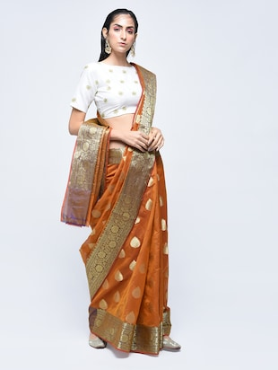 floral zari border banarasi saree with blouse - 15622884 - Standard Image - 1