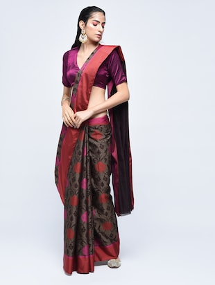 floral motif woven saree with blouse - 15622890 - Standard Image - 1