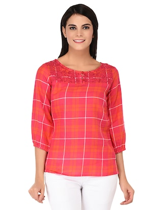 embroidered neck button detail checkered top - 15623564 - Standard Image - 1