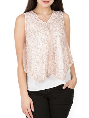 sequined mesh overlay top - 15623868 - Standard Image - 1