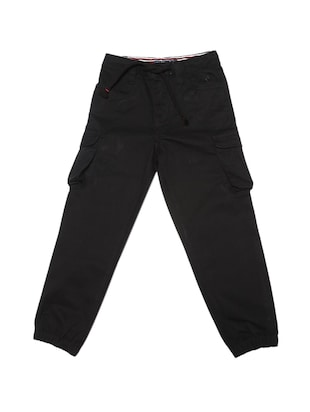 black cotton blend jogger - 15625242 - Standard Image - 1