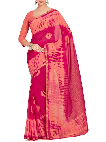 striped pallu tie & dye saree with blouse - 15625599 - Standard Image - 1