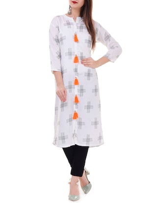 Printed straight kurta with tassels - 15626356 - Standard Image - 1