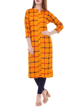 Checkered straight kurta - 15626357 - Standard Image - 1