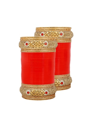 Red Gold Tone Stone Bangles - 15627466 - Standard Image - 1
