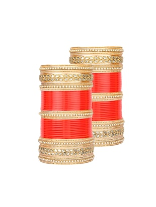 Red Gold Tone Stone Bangles - 15627470 - Standard Image - 1