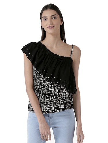 embellished ruffled detail top - 15627966 - Standard Image - 1